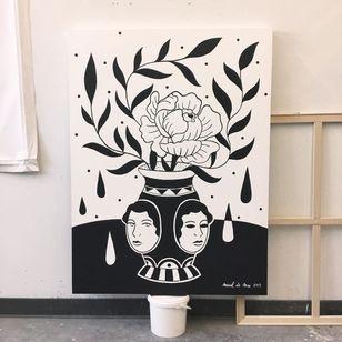 Painting by Muriel de Mai of Minuit Dix in Montreal, Canada #MurielDeMai #MinuitDix #Montreal #femaletattooartist #femaletattooist #femaleartist #womensempowerment #safespace #tattoostudio #tattooshop