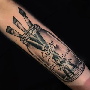 Artistic tattoo by Katie Gray #KatieGray #traditional #blackandgrey #glass #masonjar #brush #paintbrush #upperarm #arm #tattoosforartists #artistictattoos #fineart #art #artistic #create #creative #unique