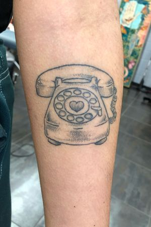 Healed rotary phone flash piece #blackwork #phone #rotaryphone #retro #80s #flash #ladytattooer #blackworker #healed