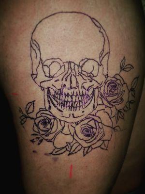 Skull rose stencil. #skull #rose #stencil #owndesign