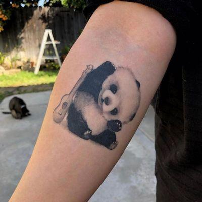 #Panda with #guitar tattoo by Monikka #blackandgreytattoo