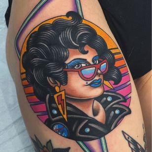 Colorful tattoo by Matt Cannon #MattCannon #lady #ladyhead #80s #LightningBolt #glam #neon #upperleg #thigh #leg #colorfultattoo #colorful #color #vibrant