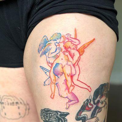Colorful tattoo by Lee aka rat666tat #rat666tat #upperleg #leg #thigh #fineart #painting #Tassaert #wings #angel #cherubs #watercolor #illustrative #colorfultattoo #colorful #color #vibrant