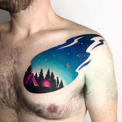 Colorful tattoo by Daria Stahp #DariaStahp #chest #sky #star #camping #fire #forest #nature #newschool #graphicart #colorfultattoo #colorful #color #vibrant