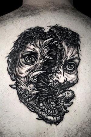 The thing inspired face... #thething #horror #horrormovies #alien #face #splatter #blackwork