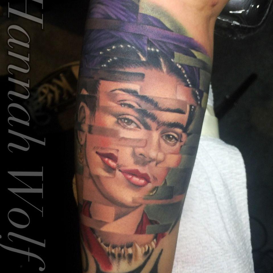 frida kahlo color portrait - Tattoo by Hannah Wolf #HannahWolf