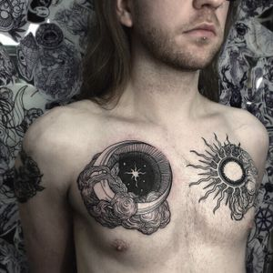 A chestpiece for Lee. Moon is fresh, sun is healed. #blackwork #sunmoontattoo #sun #moon #darkart #blackink #black