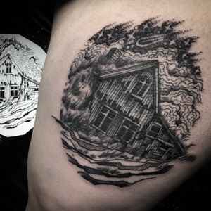 Abandoned cabin from my flash book #black #blackwork #blackworkers #blackworkertattoo #blackworkersubmission
