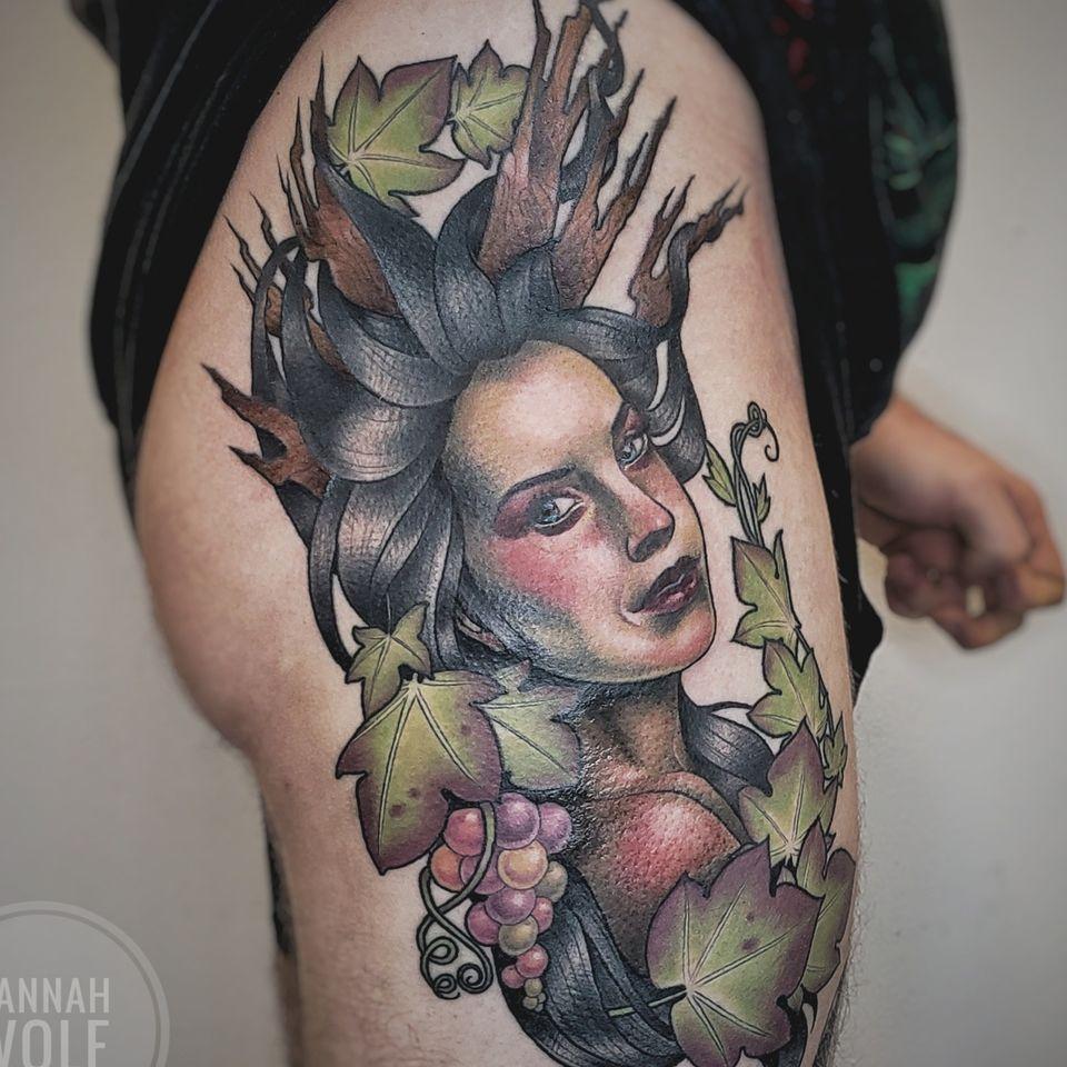 neotraditional wine goddess - Tattoo by Hannah Wolf #HannahWolf