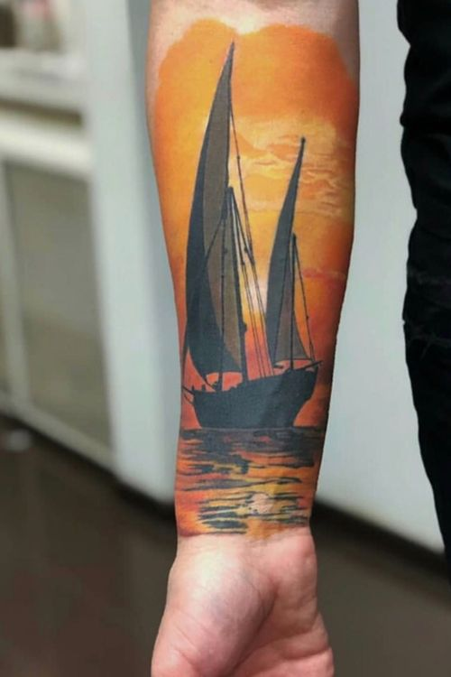 #basaltattoo #colourtattooart #colourtattoo #realism #realistictattoo #ship #shiptattoo #sunset #sunsettattoo