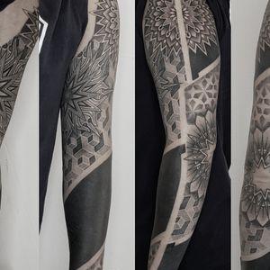 geometric blackwork sleeve - Tattoo by Hannah Wolf #HannahWolf