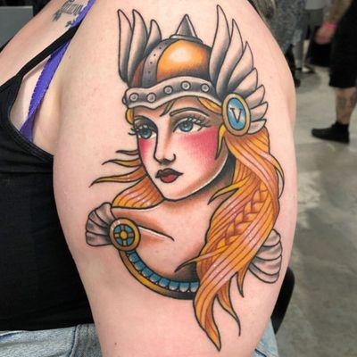 Traditional lady head tattoo by Alice SB #AliceSB #valkyrie #wings #helmet #soldier #warrior #color #norse #traditionalladyhead #traditional #oldschool #ladyhead #lady #portrait #pinup