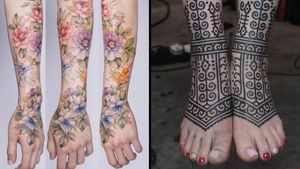 Half sleeve tattoo on the left by Ziho and foot tattoo on the right by James Lau #JamesLau #Ziho #tattoodo #tattoodoapp #tattoodoappartists #besttattoos #awesometattoos #tattoosforgirls #tattoosformen #cooltattoos