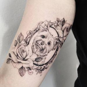 Dog tattoo by Dorota Masalska #DorotaMasalska #dog #finelinetattoo #smalltattoo #girlytattoo