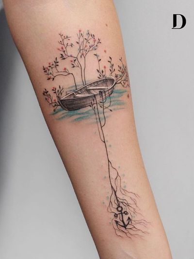 Beautiful tattoo by Deborah Genchi #DeborahGenchi #debartist #realism #realistic #illustrative #watercolor #color #forearm #arm #boat #flower #floral #anchor #roots #water #forearm #arm