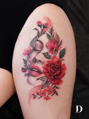 Beautiful tattoo by Deborah Genchi #DeborahGenchi #debartist #realism #realistic #illustrative #watercolor #color #portrait #lady #ladyhead #rose #flower #floral #lips #eyes #upperleg #leg #thigh