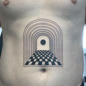 Stomach tattoo by Inaki Aires #InakiAires #stomachtattoo #blackwork #linework #geometric #sacredgeometry #portal #doot #sphere #shapes  #tattoodo #tattoodoapp #tattoodoappartists #besttattoos #awesometattoos  #cooltattoos