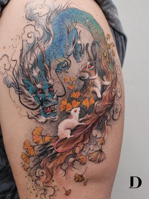 Beautiful tattoo by Deborah Genchi #DeborahGenchi #debartist #realism #realistic #illustrative #watercolor #color #chinesezodiac #zodiac #dragon #rat #rabbit #bunny #leaves #nature #upperarm #arm