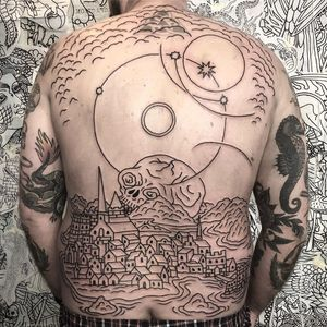 Back tattoo by Joel Soos #JoelSoos #blackwork #linework #illustrative #traditional #skull #death #houses #landscape #sky #stars #tattoodo #tattoodoapp #tattoodoappartists #besttattoos #awesometattoos
