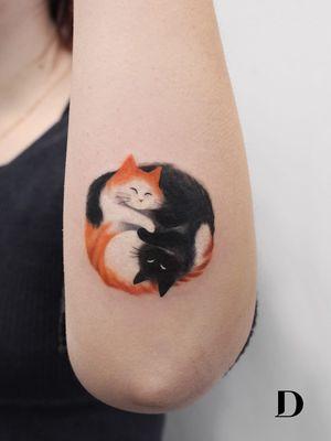 Beautiful tattoo by Deborah Genchi #DeborahGenchi #debartist #realism #realistic #illustrative #watercolor #color #yinyang #cats #petportrait #cute #kitty #cat #forearm #arm