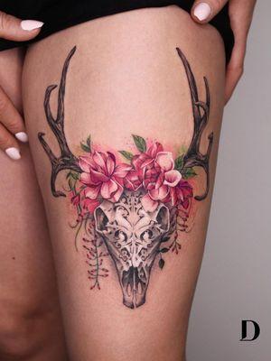 Beautiful tattoo by Deborah Genchi #DeborahGenchi #debartist #realism #realistic #illustrative #watercolor #color #rose #flower #floral #skull #deerskull #pattern #ornamental
