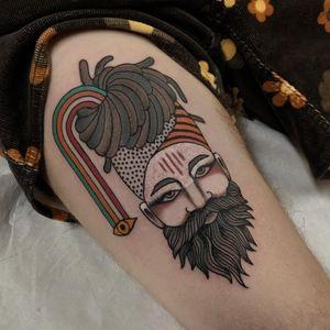 Upper leg tattoo by Cloditta #cloditta #upperleg #leg #thigh #portrait #Hindu #tilaka #spiritual #thirdeye #dreads #tattoodo #tattoodoapp #tattoodoappartists #besttattoos #awesometattoos #cooltattoos