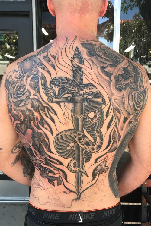 Back piece #inprogress #backpiece #blackandgrey #snake #skull #roses #blackandgreytattoo