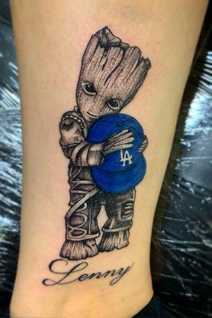 Baby Groot Dodgers fan