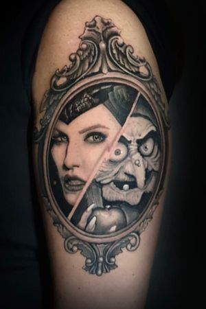 Cartoon and realistic mix up of Snow White and Sleeping Beauty villains, by @hobotattoo
