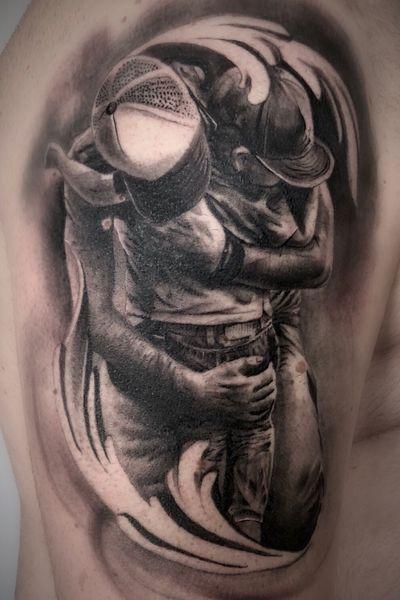 True love father and son #blackandgrey #bishoprotary #bishopbrigade #tattoodo #tattoo #realistictattoo #ink #inked #inkedup #blackandgreytattoo #sandiego #sandiegotattoo #portrait #realism #bng #art #tattooer #tattoocollector #chicano #love #tattooing #smooth #guestspot #guestartist #diegoperugini #family #familytattoo #familyfirst