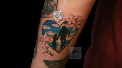 Father daughter tattoos! #fatherdaughter #color #colortattoos #colorwork #cherryblossom #sunrise #sunset #water #sky #beauty