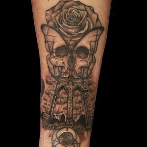 #skull #butterfly #rose #brooklynbridge #small #tiny #singleneedle #blackandgrey