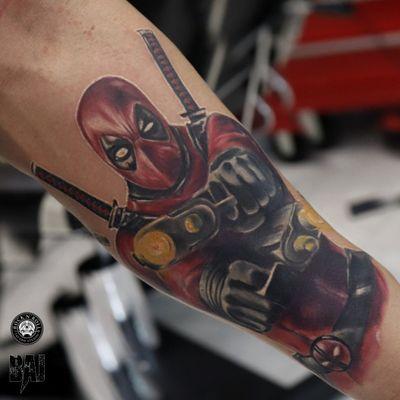Deadpool #deadpool #guns #marvel #marvelcomics #tattoo #ink #red #inked #tattooist #tattooartist#art #photo #color #contrast #face #dark #realism #rafalbaj#blackandgray #graywash #forearmtattoo #armtattoo#poland #katowice #dabrowagornicza #rockandrolltattoo