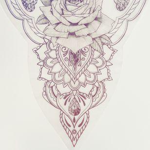 New tattoo design! . #realisticrose #mandala #diamonds #dotwork #BTS🇧🇪