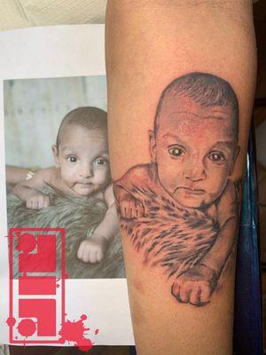 Baby portrait on forearm...#babyboy #babyportrait #portraittattoo #portraittattooartist #design #inked #illustrative #graphic #style #original #custom #byjncustoms #concept #rendering #vancouvertattooartist #surreybc