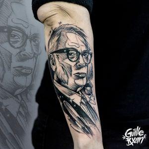 Isaac Asimov Portrait  @guilleryan.arttattoo  guilleryanarttattoo@gmail.com  #isaacasimov #blackworkartist #portrait #sketchtattoo #tattoobarcelona #tattoo #tattooist #inkaddict #amazingink