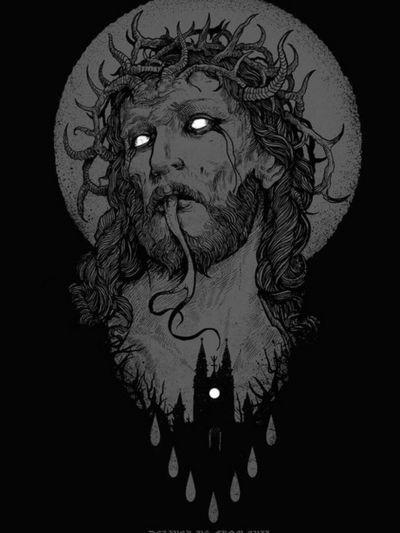 #jesus #JesusChrist #antichrist #devil #satan #satanic #crown #eyes #Black #white #blackAndWhite #crownofthorns #castle #tongue #grey #horns #tears #blood #bloodtears
