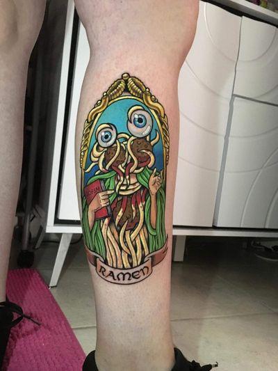 Pastafarism tattoo, flying spaghetti monster #newtattoo #color #pasta #monster #6hours