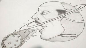 Drawing #drawfolio #draw #drawing #planet #saturn #oldman #comet