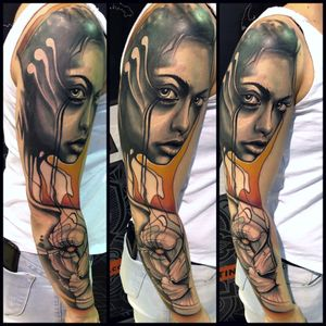 #abstract #tattoodo #artist #marius_cradle #tattooart #face #girl #portrait #trash #colors #sleeve #tattoosoftheday #luxembourg #armtattoo #inkgirl #inkmag #fkirons #worldfamousink #worldfamous #tattoogirl #geometric #lion #illustration
