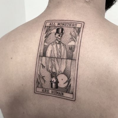 """All monsters are human"" more on my Instagram: _mfox #art #tattoo #tattoos #blackwork #blacktattoo #inked #tattoodo #italy"