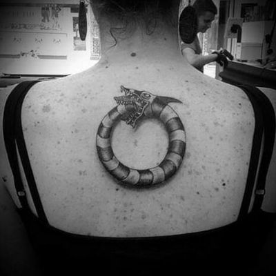 Tim Burton ouroborous for Kate.. #timburton #timburtontattoo #rune #runes #runetattoo #norse #norsetattoo #viking #vikingtattoo #pict #picttattoo #pagan #pagantattoo #heathen #heathentattoo #woad #woadtattoo #woadblue #blackwork #blackworker