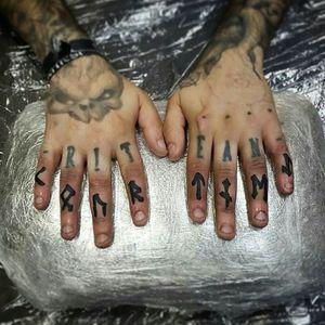Rune fingers for Scotty... #rune #runes #runetattoo #norse #norsetattoo #viking #vikingtattoo #pict #picttattoo #pagan #pagantattoo #heathen #heathentattoo #woad #woadtattoo #woadblue #blackwork #blackworker