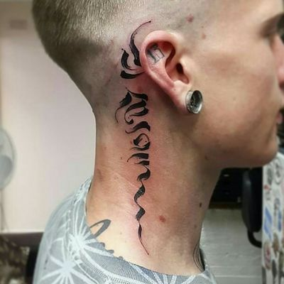 A Tashi Mannox Brushwork calligraphy on Cam... #tashimannox #animaltattoo #blackandgrey #blackandgreytattoo #webofwyrd #wayofwyrd #rune #runes #runetattoo #norse #norsetattoo #viking #vikingtattoo #pict #picttattoo #pagan #pagantattoo #heathen #heathentattoo #woad #woadtattoo #woadblue #blackwork #blackworker #calligraphy #calligraphytattoo #brushwork #brushworktattoo