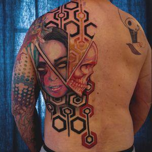 #psycadelic #skull #lady #ladymuerte #pattern #tattoopattern #flow #backpiece #tattoodo #tattoos #tattoo #inked #abstract #artsy