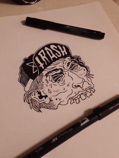 Trash flash. #tattoo #tattoos #tattoodesign #tattoodesigns #zombie #tattooflash #tattooart #horror #gore #blood