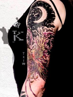 Phoenix by Kirstie Trew • KTREW Tattoo • Birmingham, UK 🇬🇧 #tattoo #halfsleevetattoo #birmingham #birdtattoo