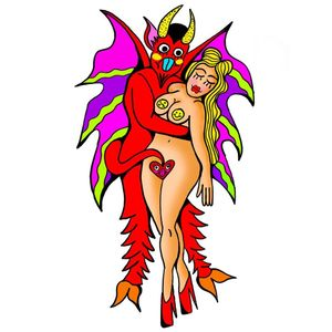 Psychedelic tattoo flash by Who aka whotattooedyou #who #whotattooedyou #color #traditional #newschool #mashup #psychedelic #surreal #surrealism #cute #fun #happy #illustrative #devil #lady #pinup
