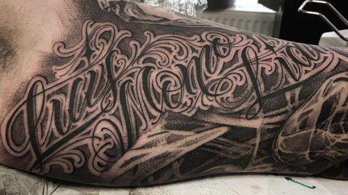 Custom lettering work  #tattooartist #lettering #chicanotattoo #berlintattoo #customlettering #inked #skinart