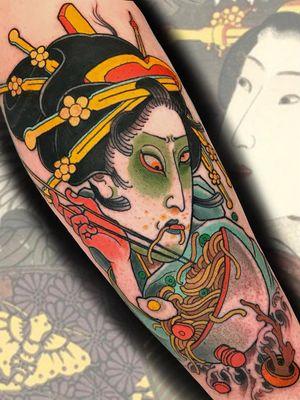 Ramen noodles tattoo by Stu Pagdin #StuPagdin #ramentattoos #ramennoodles #noodletattoo #foodtattoo #ramen #Japanese #egg #chopsticks #geisha #color #forearm #arm